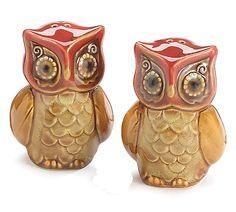 NEW Porcelain Autumn Owl Salt & Pepper Shakers GIFT burton & BURTON #burtonBURTON
