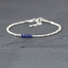 613ee01fcac5 Blue Sapphire   Sterling Silver Bracelet. Burma Sapphire Bracelet. Dainty  Beaded Bracelet. Delicate
