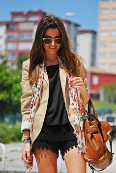 lace shorts, floral scarf, blazer