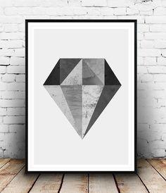 Black and white, Diamond print, watercolor art, Diamond art, pattern print, abstract poster, scandinavian design, minimalist art, home art