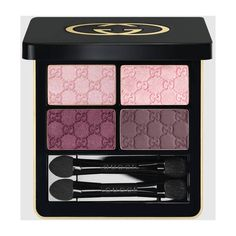 Gucci Pink Flamingo, Magnetic Color Shadow Quad (1,120 EGP) ❤ liked on Polyvore featuring beauty products, makeup, eye makeup, eyeshadow, gucci, liquid eye liner, eye shadow brush, shadow brush and liquid eyeliner
