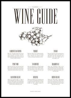 Wine guide, plakat i gruppen Plakater / Størrelser / hos Desenio AB Kitchen Posters, Kitchen Prints, Kitchen Wall Art, Poster Shop, Poster Wall, Poster Prints, Art Prints, Guide Vin, Wine Guide