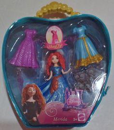 Disney Princess Brave Merida Magic Clip Doll Plus Outfits Carry Case NEW #Mattel #Merida
