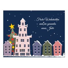Christmas night in my small city postcard - merry christmas postcards postal family xmas card holidays diy personalize