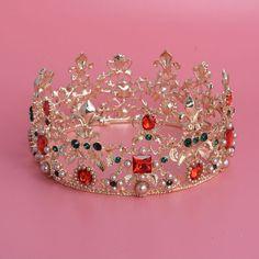HG305 Red  Green Woman Rhinestone Crystal Tiara Princess