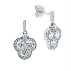 CRISLU EARRINGS CLOVER HALO DROP PLATINUM