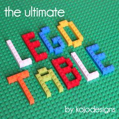 how to DIY the ultimate lego table. We are goin to do this with a train table my mom had made for Cole. We are going to cover it with the flat green pieces and put wheels on it (we took the legs if the table already) so it can be rolled away for storage Projects For Kids, Diy For Kids, Crafts For Kids, Children Crafts, Lego Projects, School Projects, Table Diy, Ikea Table, Lego Storage