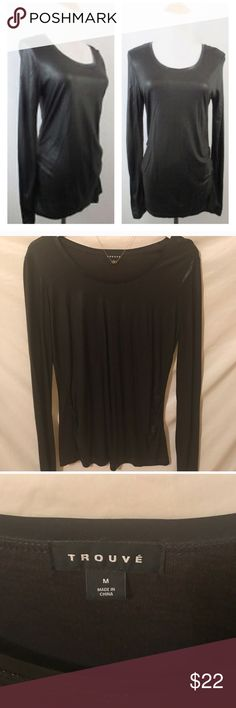 NEW Nordstrom Trouvé M shiny long sleeve tee Brand new item.  NWOT Trouvé (Nordstrom brand) size M shiny long sleeve tee blouse.  Vegan leather trim around the scoop neckline.  Flattering ruching effect on both bottom sides. Trouve Tops Blouses