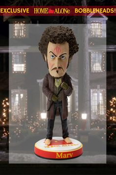 This is the first bobblehead of Marv (played by Daniel Stern) from Home Alone! He's part of the 1st series of Home Alone bobbleheads which feature Kevin, Harry and Marv! Only available at https://store.bobbleheadhall.com/products/homealone.
