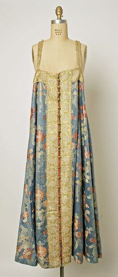 Dress, 19th c., Russian, silk, metallic thread and brass