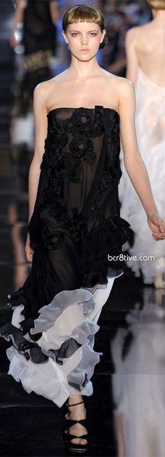 John Galliano SS 2012 | black | strapless | lace | embroidery | layered frills | high fashion