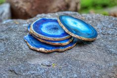 Agate Coaster  Set of 4 GOLD Finish  Geode   by GeodeInTheRough