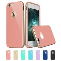 iPhone 6 Plus Case, ESR the Defender Series Hybrid Protective Gunmetal Case Soft TPU Bumper[Scratch-Resistant][Shock Absorbent][Perfect Fit][Anti- TPU aging] Trendy Color Back Cover for 5.5 inches iPhone 6 Plus [Free Gift: HD Clear Screen Protector] Iris Gold Pink by ESR
