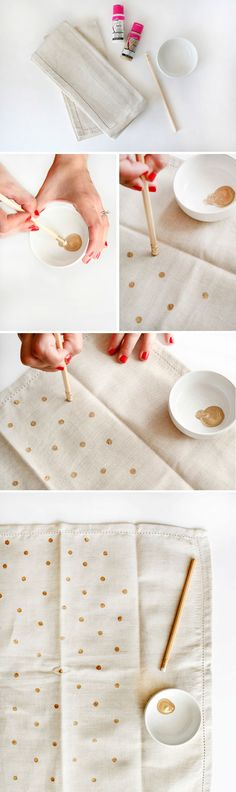 The best DIY projects & DIY ideas and tutorials: sewing, paper craft, DIY. DIY Gifts Ideas 2017 / 2018 How to make DIY Polka Dot Napkins -Read Diy Hacks, Do It Yourself Upcycling, Diy Gifts, Handmade Gifts, Fabric Stamping, Ideias Diy, Diy Couture, Gold Diy, How To Make Diy