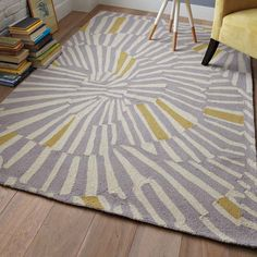 West elm swirl rug grey white yellow