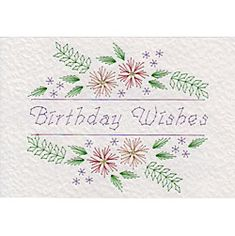 Floral Greeting Birthday Wishes | Special Occasions patterns at Stitching Cards.