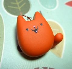 Kawaii Cat Orange Ginger Kitty Pendant Charm - Cat Lover Polymer Clay Jewelry