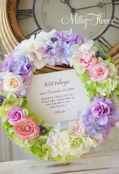 上品ラベンダー×グリーン×コーラルピンクのご両親贈呈リース* & カラフルウェルカムボード* の画像|ウェディング&フラワーリースのMilkyFlower*