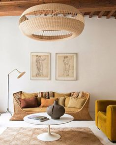 Home Interior Decoration rattan daybed with mustard hued throw pillows.Home Interior Decoration rattan daybed with mustard hued throw pillows. Interior Design Inspiration, Home Interior Design, Interior Decorating, Decorating Ideas, Design Ideas, Room Interior, Interior Ideas, Interior Colors, Style Inspiration