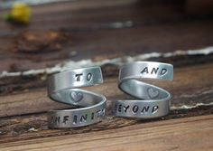 """Best friend rings Squires Squires Becker Love You! Where can we get these hahha. I know I'll imbroider the booty pants.you are """"and beyond"""" XOXO Bff Rings, Couple Rings, Couple Jewelry, Promise Rings, Jewelry Box, Jewelery, Unique Jewelry, Diy Jewelry, Best Friend Rings"""