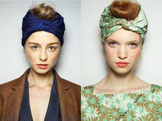 head wrap // turban style scarf updo with top knot bun