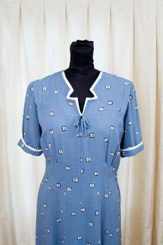 1940's Dress //  Cornflower Blue Square Print by GarbOhVintage, $118.00