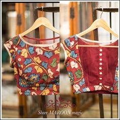 Sheerly arty, sheerly delightful! Maroon Kalamkari blouse with a sheer net back. Get yourself a similar one in our READY TO SHOP section OR customise your perfect blouse here: www.houseofblouse.com #houseofblousedotcom #maroon #cotton #kalamkari #sheer #net #black #handpainted #blouse #love #readytoshop