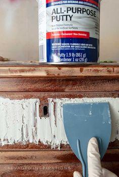 Filling Furniture w Bondo | Salvaged Inspirations Painted Dresser Makeover w WoodUbend #siblog #salvagedinspirations #paintedfurniture #bondo #bondorepair #furniturepainting #furniturepaintingtutorials #howto #curbshopped #dixiebellepaint #woodubend Furniture Repair, Paint Furniture, Furniture Projects, Rustic Furniture, Furniture Makeover, Cool Furniture, Diy Projects, Broken Dresser, Red Dresser