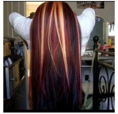 Straight Blonde-Red-Black Hair Style!