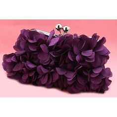 Purple Chiffon Wedding Evening Party Ball Bridesmaid Bag Purse Clutches  SKU-1110502