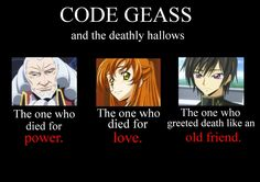 This fits so well! I am crying at this perfection Only code geass and harry potter fans understand All Anime, Me Me Me Anime, Anime Manga, Shirley Code Geass, Otaku, Lelouch Vi Britannia, 4 Panel Life, Memes, Fandom Crossover