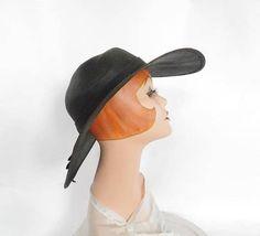Vintage 1960s hat black straw brimmed hat Ruth Alan