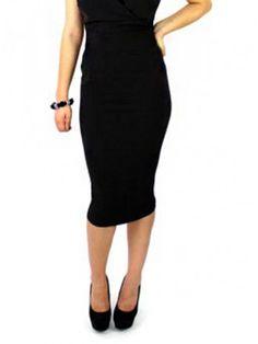 """Women's """"Classic High Waist"""" Pencil Skirt by Hemet (Black)"""