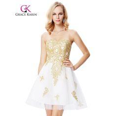 accc2bd520 Złote Aplikacje Sukienka Na Studniówkę 2017 Biały Sweetheart Robe De  Wieczór Kolano Długość New Arrival Formalna Party Suknie Suknia Wieczorowa