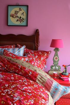 Pip Studio Bettwäsche Chinese Rose red/rot 135x200+80x80cm Perkal-Baumwolle