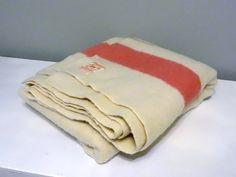 Vintage Hudson's Bay Pure Wool Blanket - Ivory Blanket with Pink Stripes by Hudson's Bay Company - 3.5 Point Blanket - Vintage Camp Blanket