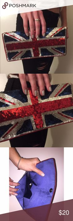 Forever 21 sequin clutch sequin clutch with GREAT BRITAIN Flag on it. Tags still attached. So cute. Never been used ! Forever 21 Bags Clutches & Wristlets
