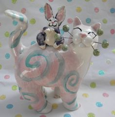"""Curlicue with Bunnyy"" one-of-a-kind handmade Easter WhimsiClay cat, so cute!"