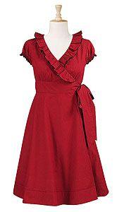 Ruffle neck wrap dress  ProductID:CL0021564  Price:$ 54.95  Color:Crimson