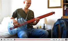 """Originally a joke between friends, this two-string fretless guitar made out of a water cooler bottle and wood is now the best homemade instrument ever. To prove the point, its creator plays """"Iron Man"""" by Black Sabbath on the guitar and it's amazing. Black Sabbath Concert, Acoustic Bass Guitar, Most Viral Videos, Guitar Youtube, Homemade Instruments, Greys Anatomy Memes, Unique Guitars, Cigar Box Guitar, Water Bottle"""