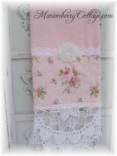 Luxury display towel  with Kilala Elegant pink roses and vintage crochet