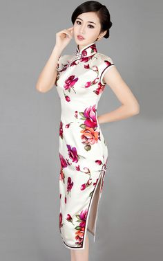white chinese dress | Red floral heavy silk sleeves qipao white Chinese cheongsam dress 005