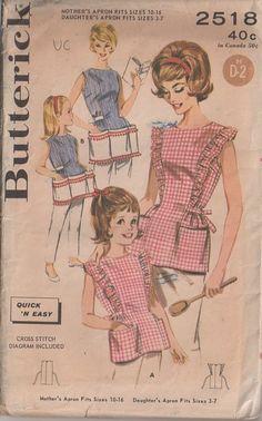 MOMSPatterns Vintage Sewing Patterns - Butterick 2518 Vintage 60's Sewing Pattern SWEET Mother & Daughter Cooking Cobbler Apron Set, Quick & Easy Ball Fringe Trim Pockets!