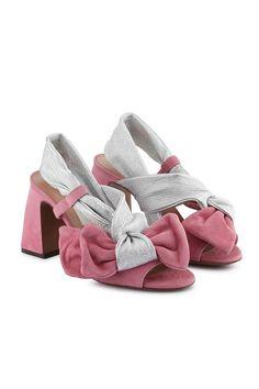 Sandalo con maxi fiocco rosa e argento - OSG150.85CP2575E969 | L'Autre Chose Online Boutique