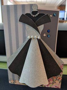 Wedding Cards Handmade, Handmade Birthday Cards, Greeting Cards Handmade, Diy And Crafts, Paper Crafts, Basic Embroidery Stitches, Karten Diy, Dress Card, Card Tutorials