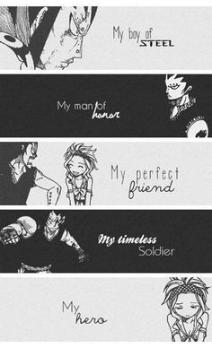 My boy of steel, my man of honor, my perfect friend, my timeless soldier, my hero. Gajeel and Levy