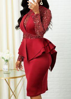 2020 Women Dresses Ruffle Trim Sequin Detail Back Zipper Sheath Dress Classy Dress, Classy Outfits, Chic Outfits, Dress Outfits, Casual Dresses, Inspired Outfits, Latest African Fashion Dresses, African Print Fashion, Women's Fashion Dresses