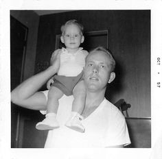 Photograph Snapshot Vintage Black and White Dad Son Shoulder Ride 1950'S | eBay