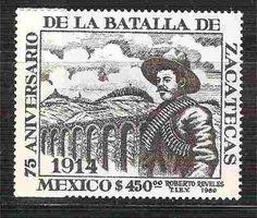 1989 75 aniversario batalla de zacatecas sello nuevo