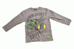 John Deere Youth Longsleeve Grey Performance T-Shirt John Deere Kids, Band Hoodies, Kids Hats, Grey Hoodie, Cropped Sweater, T Shirt, Sweatshirts, Boys, Long Sleeve